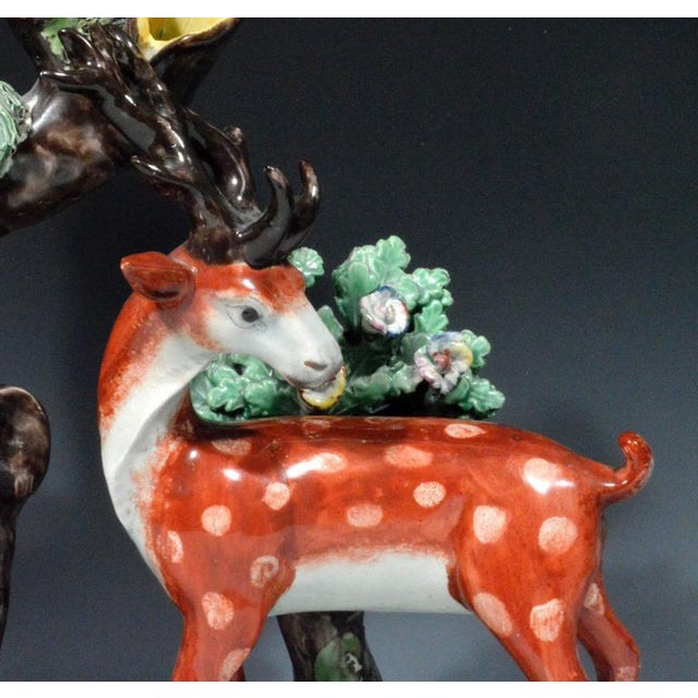 Staffordshire Pearlware Large & Rare Double Deer Figure Spill Vase Group For Sale In New York - Image 6 of 7