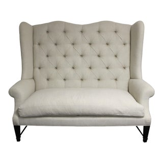 Contemporary Tufted Wingback Sofa For Sale