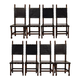 Set of 8 Spanish Colonial-style Dining Chairs