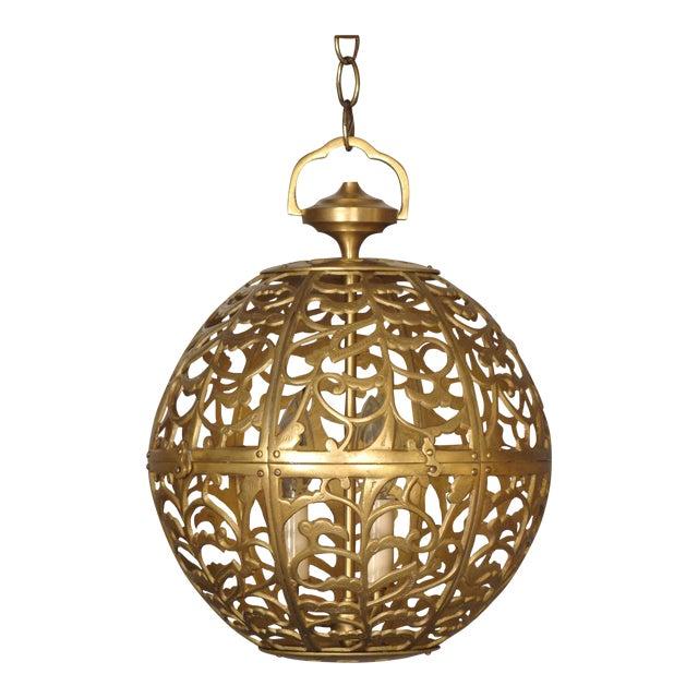 Vintage Brass Globe Light - Image 1 of 6