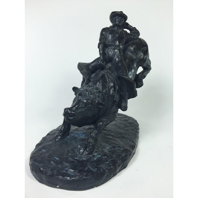 1979 Austin Productions Bull Cowboy Rider Sculpture - Image 3 of 11