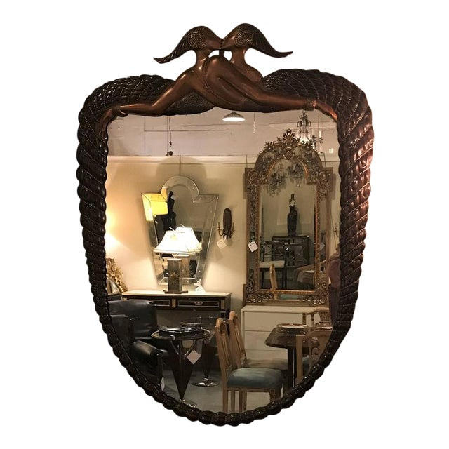 Signed Erte Mirror Terminating in Two Kissing Lovers Both Woman For Sale - Image 11 of 11