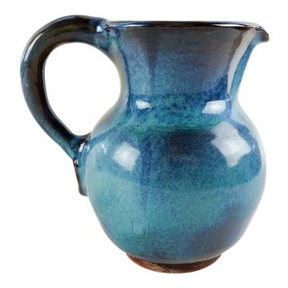 1973 Turquoise Harding Black Pottery Pitcher For Sale