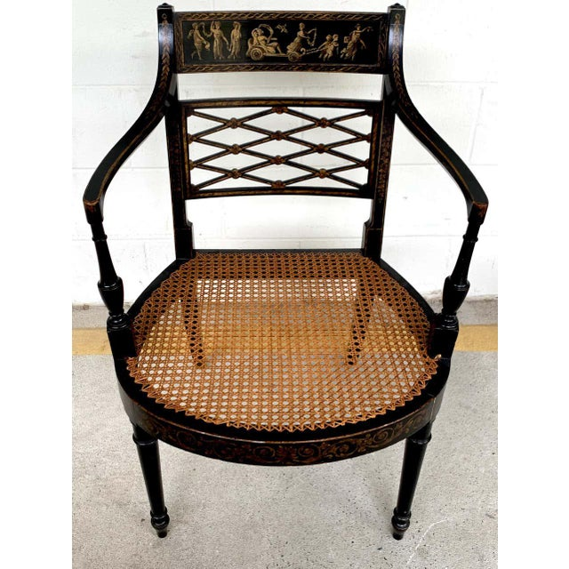 Traditional Regency Black and Polychrome Cane Seat Armchairs - a Pair For Sale - Image 3 of 10