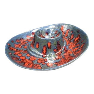 1960s Mid Century Blue/Red Pottery Chip & Dip Server Tray For Sale