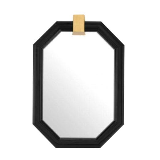 Arno Octagonal Black Frame Wall Mirror For Sale
