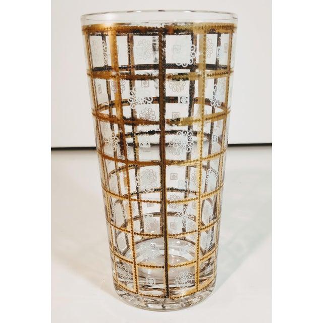 1960s Vintage Gold Highballs Glasses Barware Bar Geometric Floral White - Set 8 For Sale - Image 5 of 8