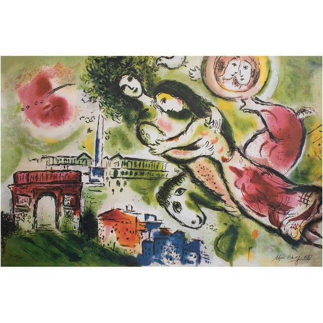 """Marc Chagall """"The Flying Bouquet"""", XL Limited Edition Print With C. O. A., C.1990s For Sale - Image 12 of 13"""