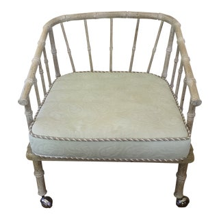 Vintage Mid Century Faux Bamboo Armchair For Sale