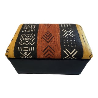 "Malian Mud Cloth Bogolan Textile Ottoman 13.5"" H by 21"" W For Sale"