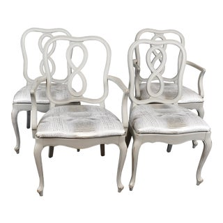 French Country Louis XV Style Dining Chairs- Set of 4 For Sale