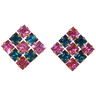 1950's Pink & Green Austrian Crystal Rhinestone Earrings For Sale