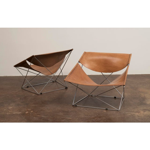 Pair of Pierre Paulin Butterfly Chairs in Original Leather, France, 1963 For Sale - Image 12 of 12