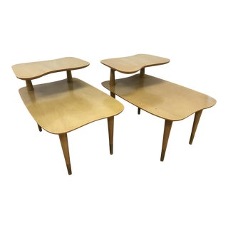 Mid-Century Two Tiered Mahogany End Tables - a Pair