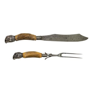 19th Century Antler Handle Carving Set With Silver-Plated Ram's Head Hilt - Set of 2 For Sale