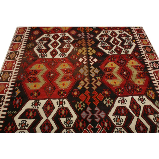 Tribal Vintage Mid-Century Malatya Red and Off-White Wool Kilim Rug- 5′10″ × 13′ For Sale - Image 3 of 6