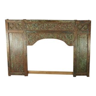Antique Indonesian Carved Wood Panel Framed Headboard