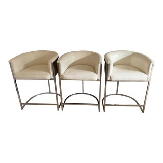 "Custom ""Snakeskin"" Leather and Chrome Barstools For Sale"