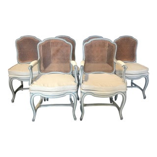 Louis XV French Blue Gray Dining Chairs -Set of 6 For Sale