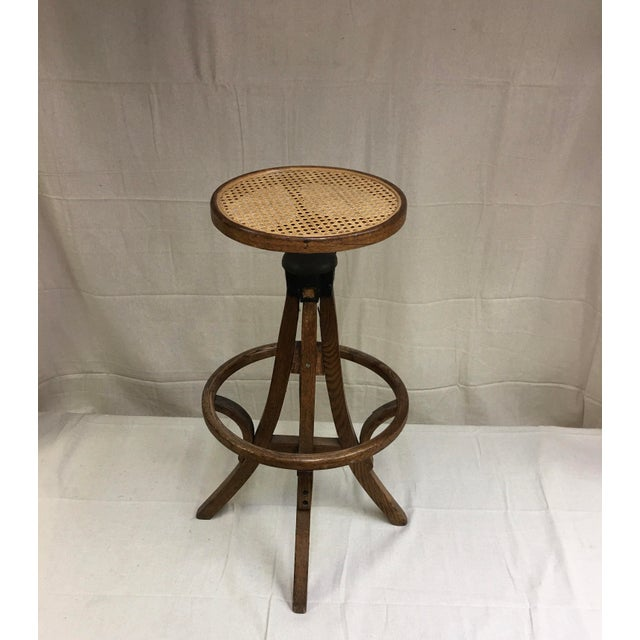 1920s Antique Industrial Bentwood Adjustable Height Oak Cane Seat Swivel Stool For Sale - Image 5 of 5