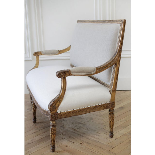 Antique Louis XVI Style Giltwood Settee in Linen For Sale - Image 9 of 13