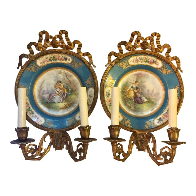 Antique Plate Wall Sconces - A Pair - Image 1 of 11