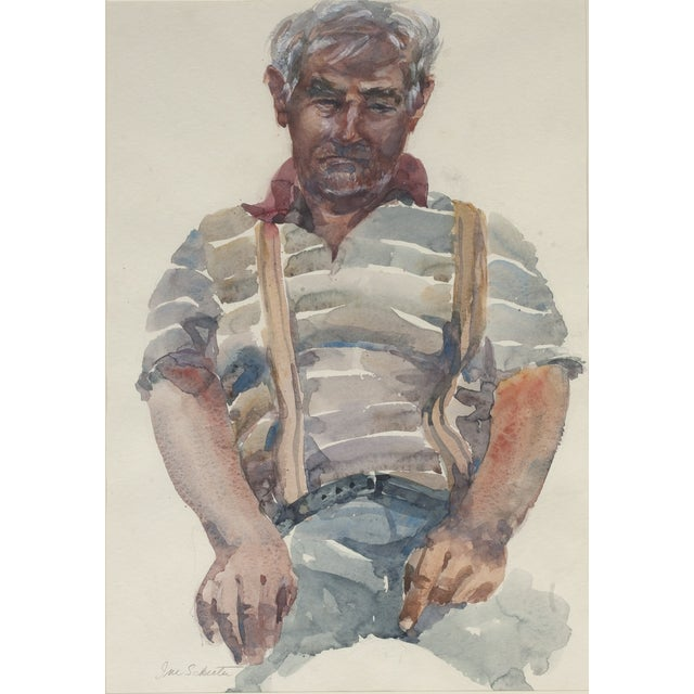 Very large framed male portrait watercolor painting by Washington, D.C. artist, Ina Schecter. Painting portrays a man...