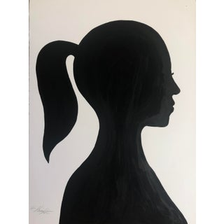 """""""Silhouette With Ponytail"""" Original Oil Painting on Paper Signed by Artist For Sale"""