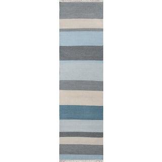 "Erin Gates Thompson Brant Point Blue Hand Woven Wool Runner 2'3"" X 8' For Sale"