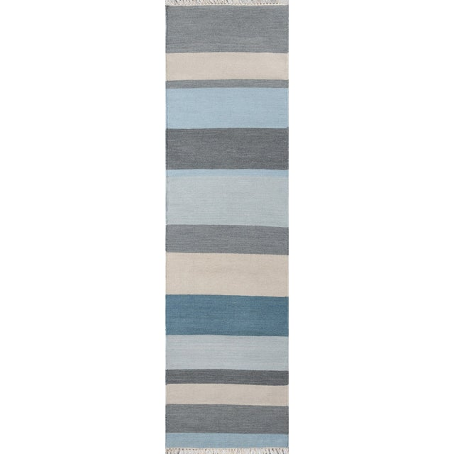"Erin Gates Thompson Brant Point Blue Hand Woven Wool Runner 2'3"" X 8' For Sale"