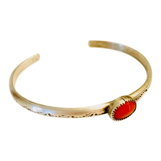 1920s Old Pawn Navajo Coral and Sterling Bracelet For Sale