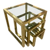 Image of Italian Mid-Century Brass Nesting Tables For Sale