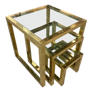Italian Mid-Century Brass Nesting Tables For Sale