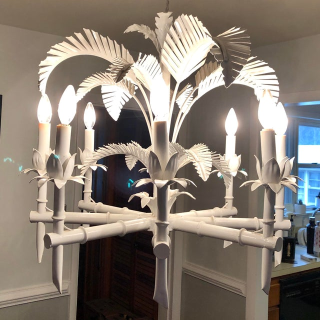 White Vintage Tole Palm Chandelier For Sale - Image 8 of 12