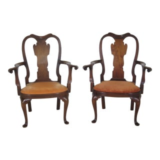 Saybolt Cleland Walnut Pad Foot Armchairs - A Pair