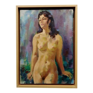 Jo Kotula -Portrait of a Standing Nude Brunette -Oil Painting For Sale
