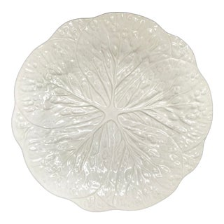 "1970s White Majolica Cabbage Leaf 12"" Charger For Sale"