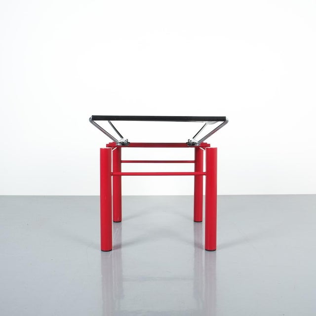 Hans Ullrich Bitsch Side Table Series 8600, Circa 1980. Postmodern classic with black metal table top and highly delicate...
