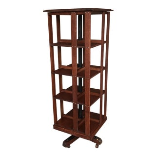 Antique Oak Revolving Bookcase For Sale