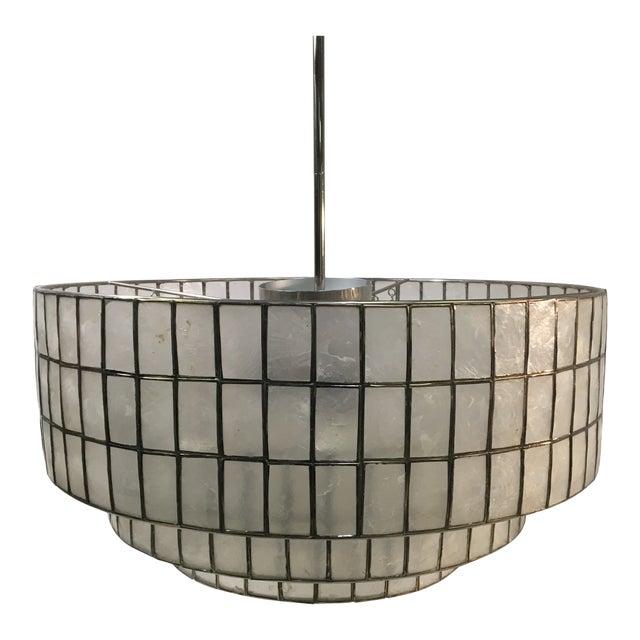 West Elm Three-Light Tiered Modern Chandelier Light For Sale