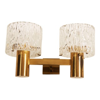 Brass and Crystal Wall Lamps Designed by Carl Fagerlund for Orrefors Set of Two For Sale