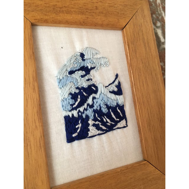 Japanese Wave Hand Embroidered Art in Wooden Frame - Image 3 of 4