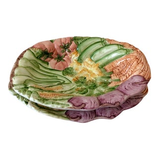 Italian San Marco Majolica Vegetable Tray and Platter - a Pair For Sale