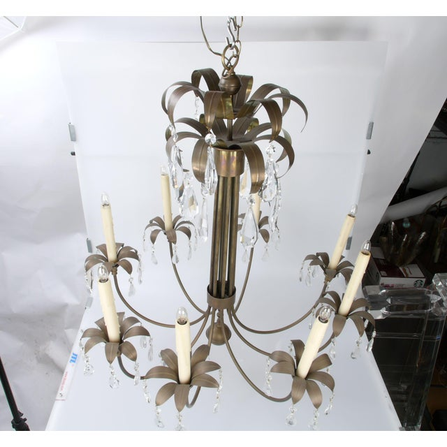 Brass Palm Leaf Chandelier - Image 10 of 10