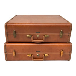 Mid-Century Leather Samsonite Suitcases - a Pair For Sale