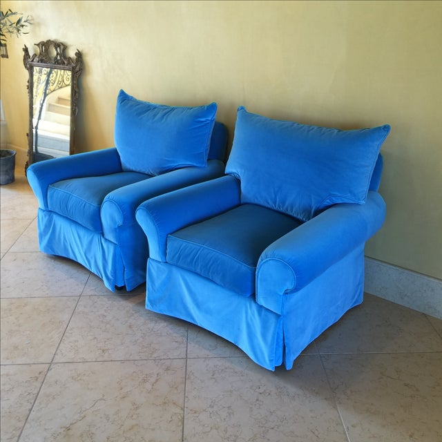 Venetian Blue Club Chairs - A Pair - Image 3 of 8