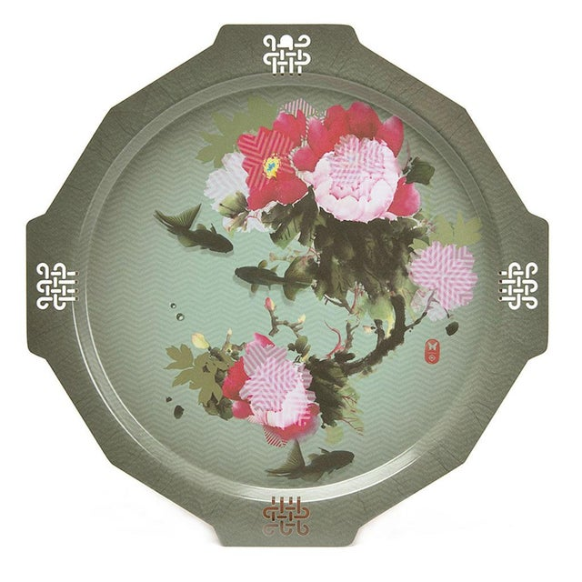 2010s Peony + Coy Mural Serving Tray, Ibride For Sale - Image 5 of 5