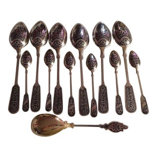 Russian (Ex-Ussr) Fine Antique Sterling With Gold Gilt and Niello Spoons Set. For Sale