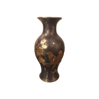 1960s Brass Pewter James Mont Style Asian Bud Vase For Sale