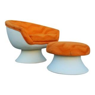Vintage 1970s Orange Chair & Ottoman - A Pair